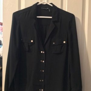 Marciano Double Gold Button Black Blouse